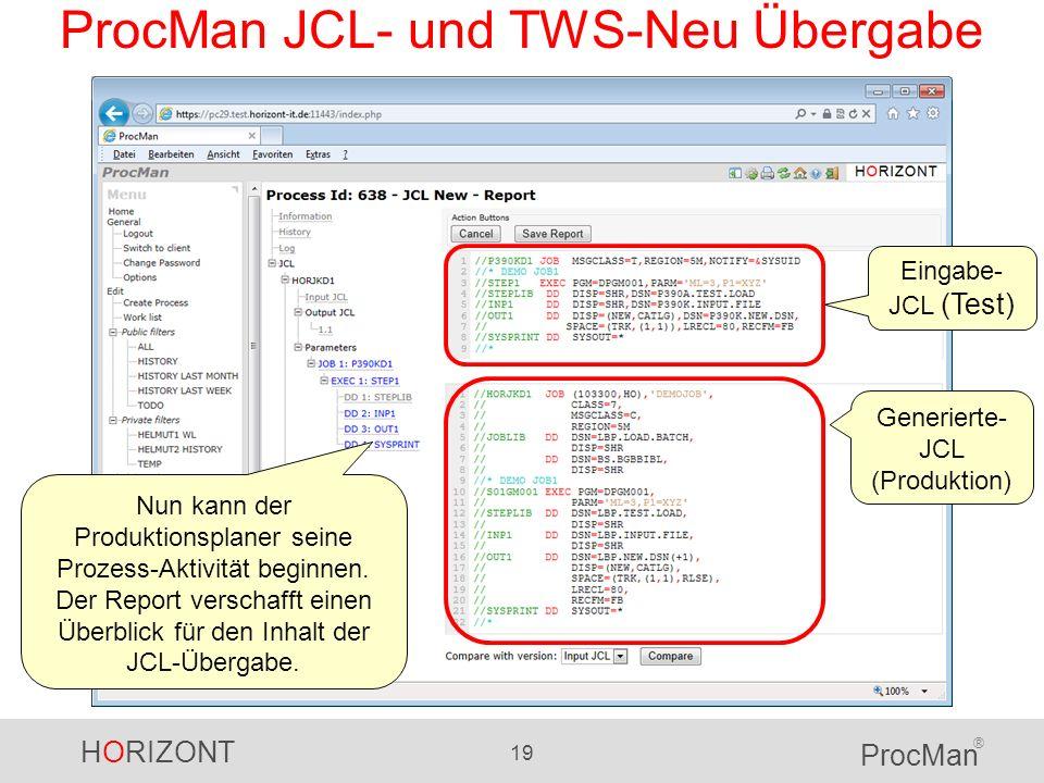 HORIZONT 19 ProcMan ® ProcMan JCL- und TWS-Neu Übergabe Nun kann der Produktionsplaner seine Prozess-Aktivität beginnen. Der Report verschafft einen Ü