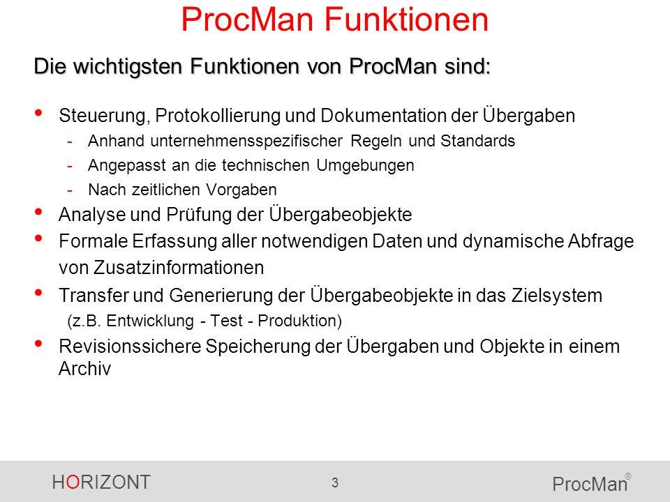 HORIZONT 3 ProcMan ® ProcMan Funktionen Steuerung, Protokollierung und Dokumentation der Übergaben -Anhand unternehmensspezifischer Regeln und Standar