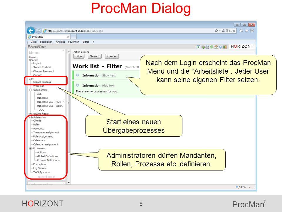 HORIZONT 8 ProcMan ® ProcMan Dialog Nach dem Login erscheint das ProcMan Menü und die Arbeitsliste. Jeder User kann seine eigenen Filter setzen. Admin