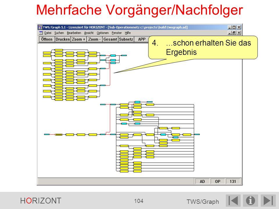 Mehrfache Vorgänger/Nachfolger 4....schon erhalten Sie das Ergebnis HORIZONT 104 TWS/Graph
