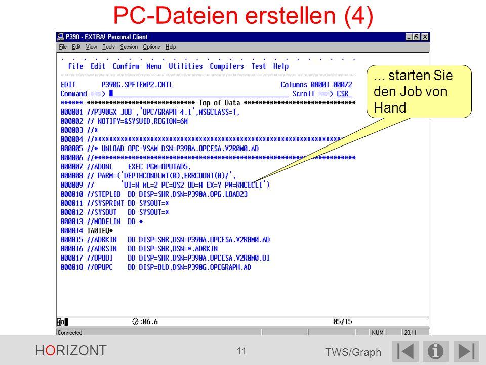 ... starten Sie den Job von Hand PC-Dateien erstellen (4) HORIZONT 11 TWS/Graph
