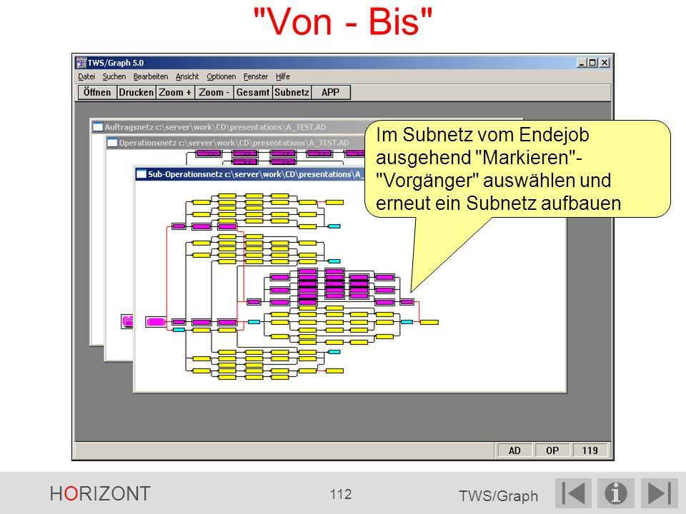 Von - Bis Im Subnetz vom Endejob ausgehend Markieren - Vorgänger auswählen und erneut ein Subnetz aufbauen HORIZONT 112 TWS/Graph