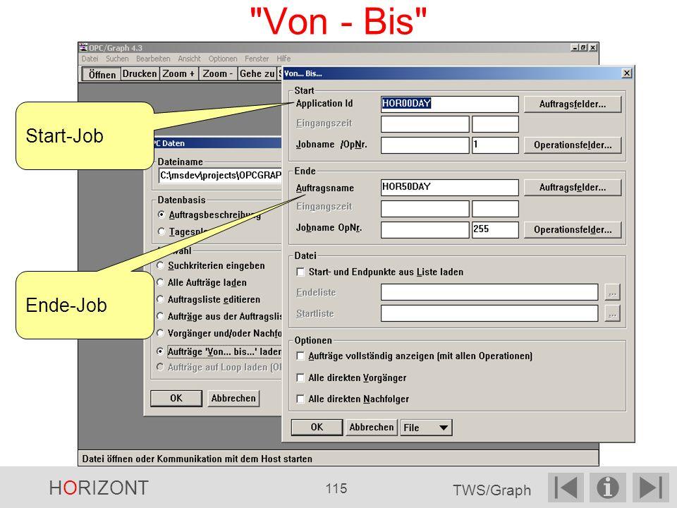 Von - Bis Start-Job Ende-Job HORIZONT 115 TWS/Graph