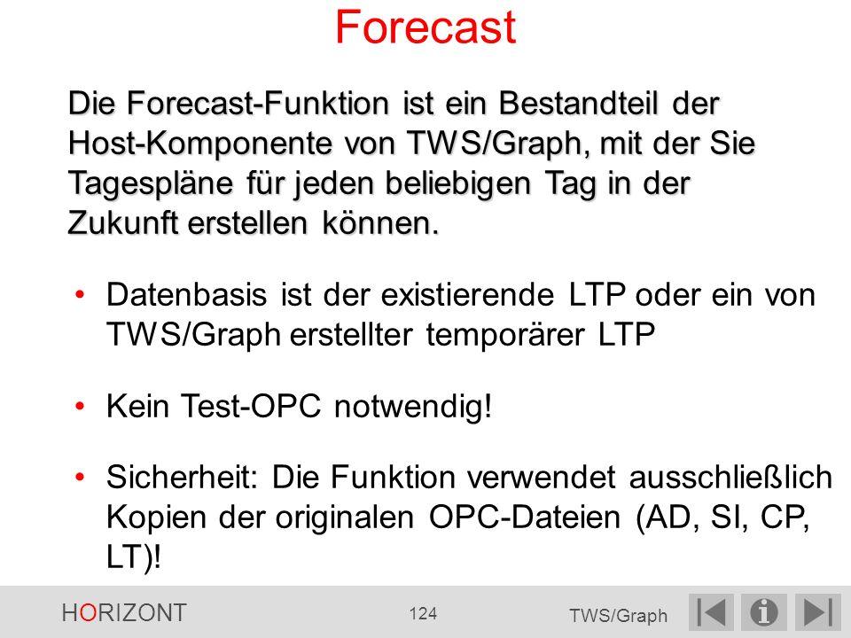 Forecast Datenbasis ist der existierende LTP oder ein von TWS/Graph erstellter temporärer LTP Kein Test-OPC notwendig.