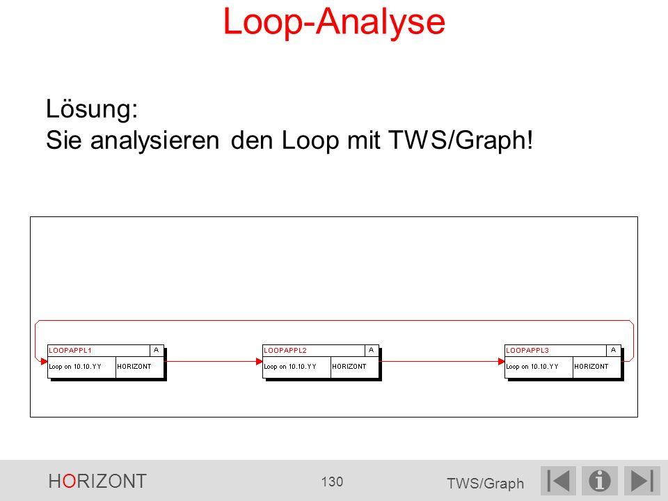Loop-Analyse Lösung: Sie analysieren den Loop mit TWS/Graph! HORIZONT 130 TWS/Graph