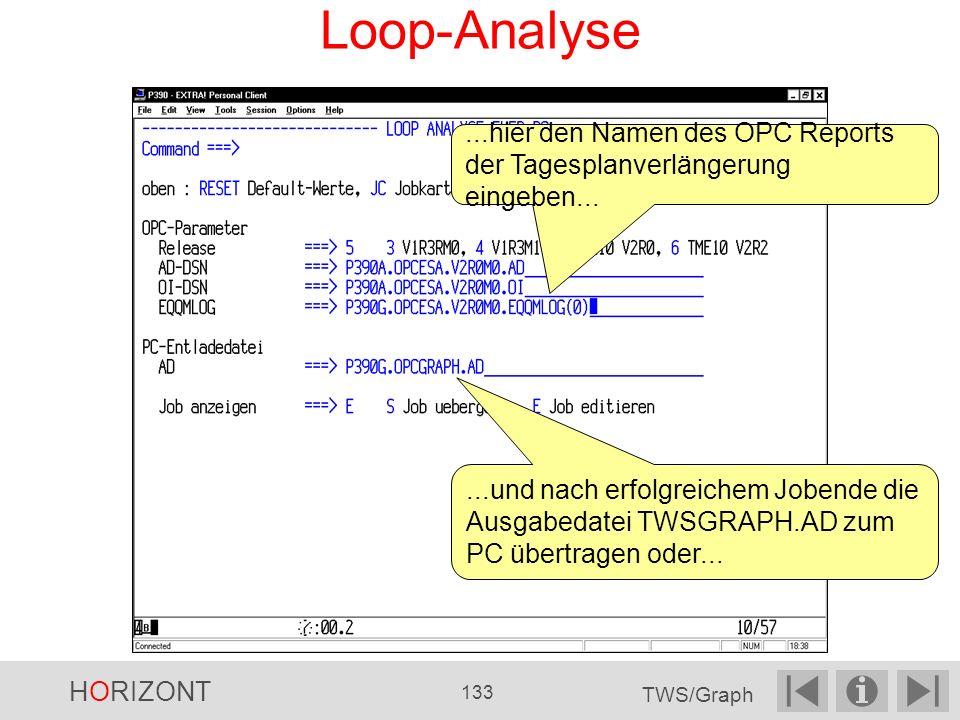 Loop-Analyse...hier den Namen des OPC Reports der Tagesplanverlängerung eingeben......und nach erfolgreichem Jobende die Ausgabedatei TWSGRAPH.AD zum PC übertragen oder...