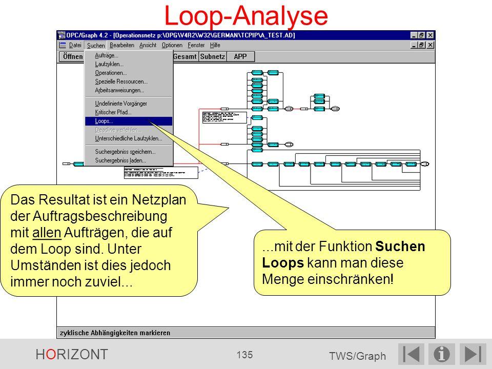 Loop-Analyse Das Resultat ist ein Netzplan der Auftragsbeschreibung mit allen Aufträgen, die auf dem Loop sind.