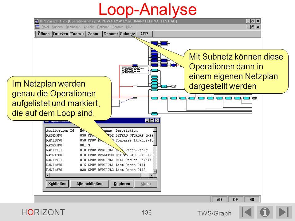 Loop-Analyse Im Netzplan werden genau die Operationen aufgelistet und markiert, die auf dem Loop sind.