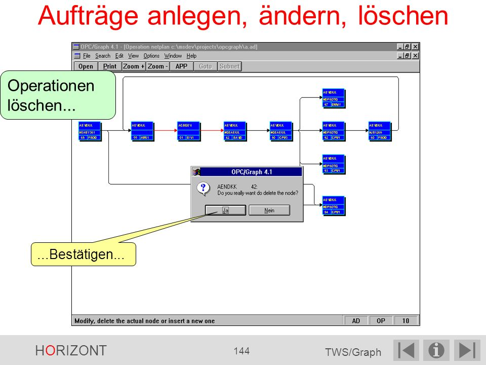 Aufträge anlegen, ändern, löschen Operationen löschen......Bestätigen... HORIZONT 144 TWS/Graph