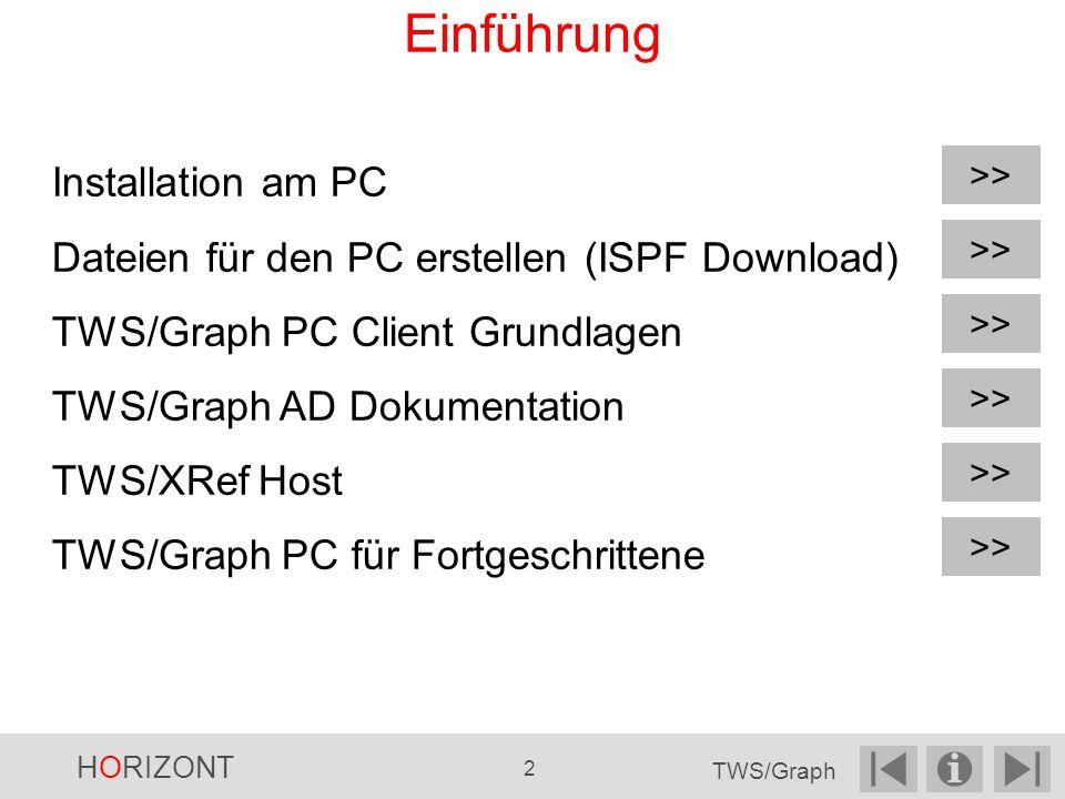 Installation am PC Dateien für den PC erstellen (ISPF Download) TWS/Graph PC Client Grundlagen TWS/Graph AD Dokumentation TWS/XRef Host TWS/Graph PC für Fortgeschrittene >> Einführung >> HORIZONT 2 TWS/Graph