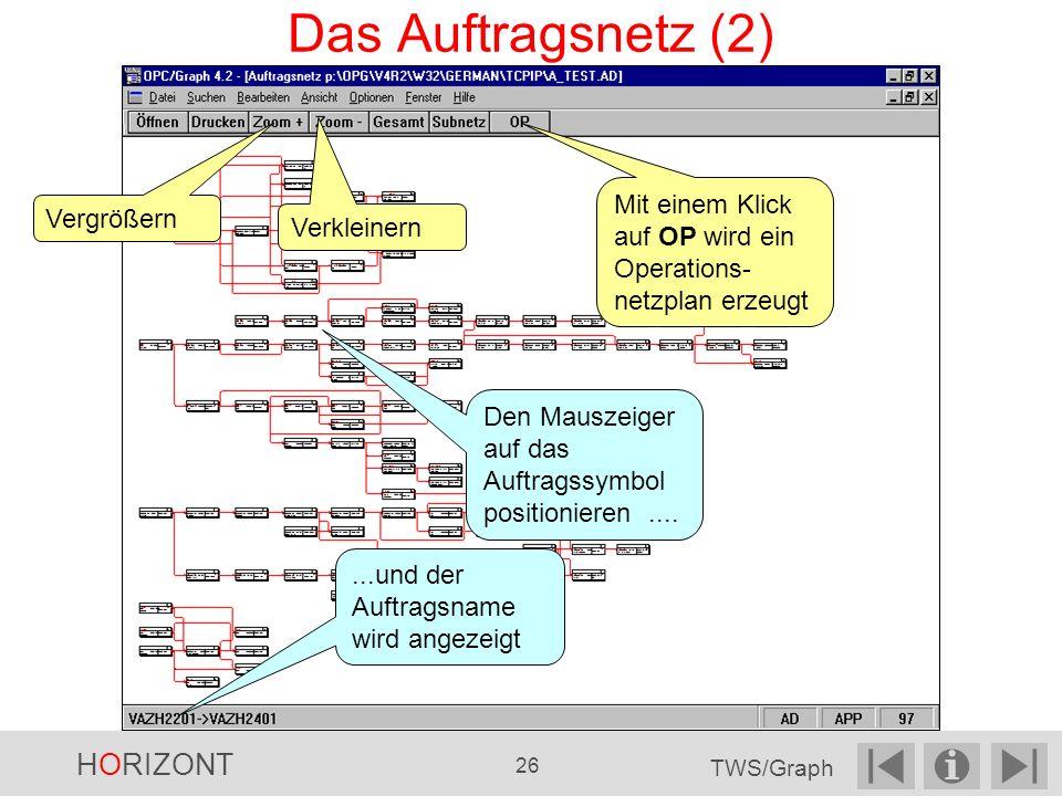 Vergrößern Den Mauszeiger auf das Auftragssymbol positionieren.......und der Auftragsname wird angezeigt Mit einem Klick auf OP wird ein Operations- netzplan erzeugt Verkleinern Das Auftragsnetz (2) HORIZONT 26 TWS/Graph