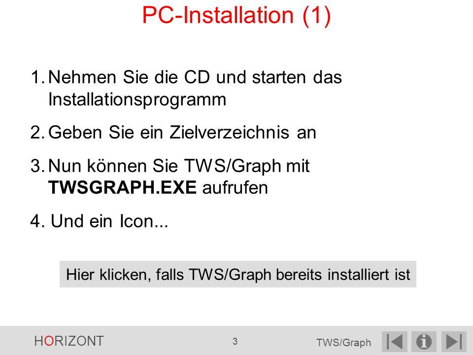 1.Nehmen Sie die CD und starten das Installationsprogramm 2.Geben Sie ein Zielverzeichnis an 3.Nun können Sie TWS/Graph mit TWSGRAPH.EXE aufrufen 4.