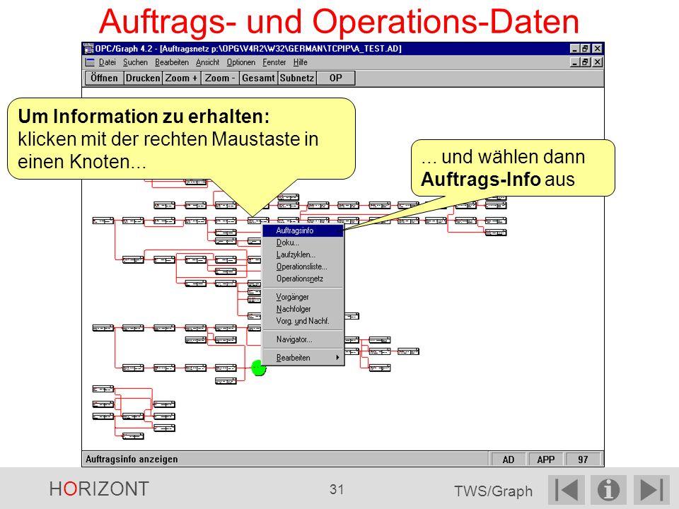 Auftrags- und Operations-Daten Um Information zu erhalten: klicken mit der rechten Maustaste in einen Knoten......