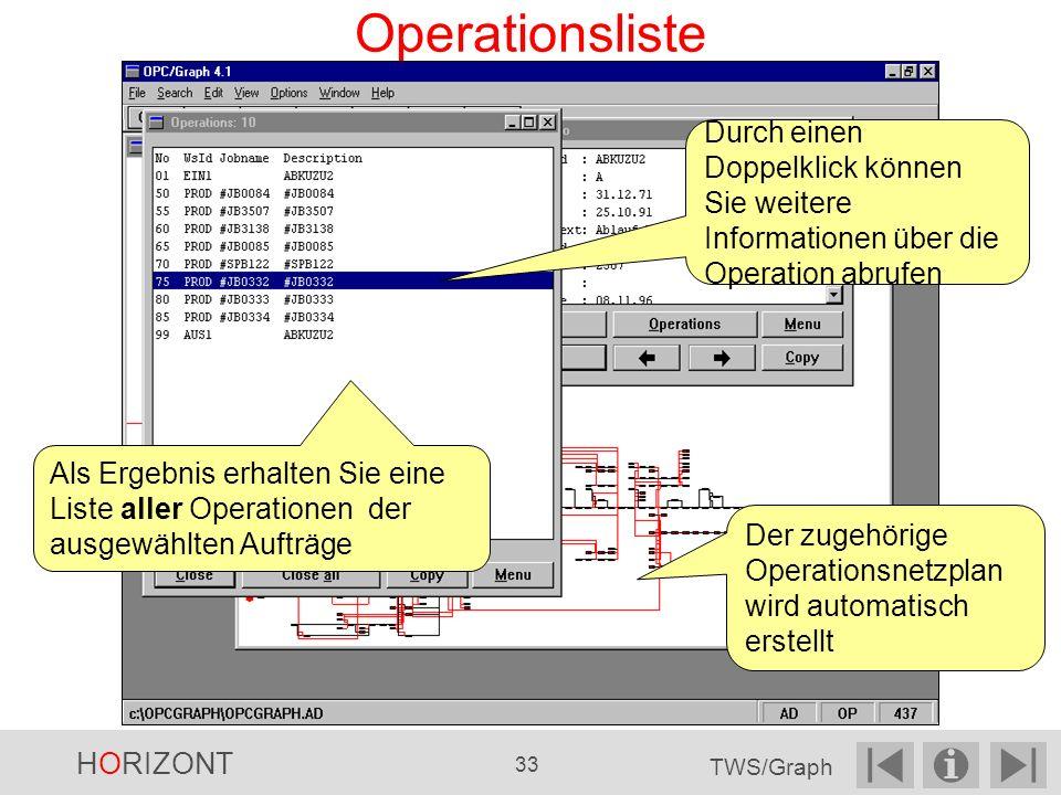 Operationsliste Durch einen Doppelklick können Sie weitere Informationen über die Operation abrufen Als Ergebnis erhalten Sie eine Liste aller Operationen der ausgewählten Aufträge Der zugehörige Operationsnetzplan wird automatisch erstellt HORIZONT 33 TWS/Graph