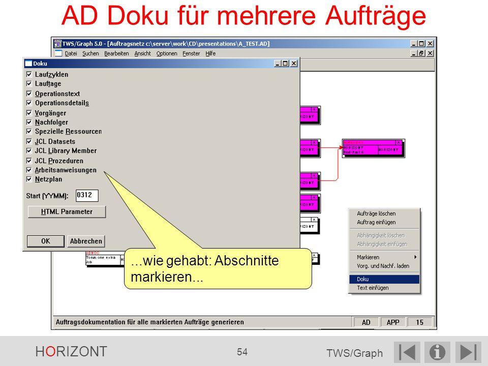 AD Doku für mehrere Aufträge...wie gehabt: Abschnitte markieren... HORIZONT 54 TWS/Graph