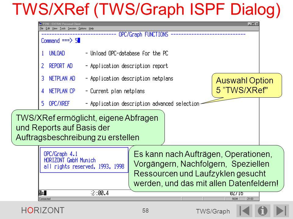 TWS/XRef (TWS/Graph ISPF Dialog) Auswahl Option 5 TWS/XRef TWS/XRef ermöglicht, eigene Abfragen und Reports auf Basis der Auftragsbeschreibung zu erstellen Es kann nach Aufträgen, Operationen, Vorgängern, Nachfolgern, Speziellen Ressourcen und Laufzyklen gesucht werden, und das mit allen Datenfeldern.