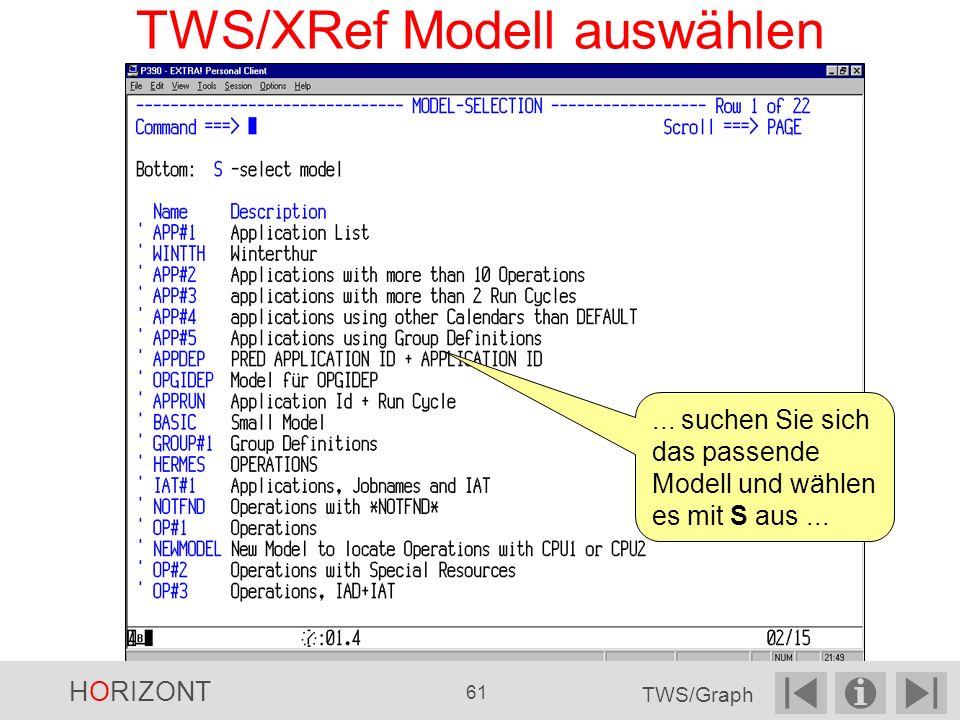 TWS/XRef Modell auswählen...suchen Sie sich das passende Modell und wählen es mit S aus...