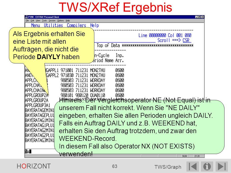 TWS/XRef Ergebnis Als Ergebnis erhalten Sie eine Liste mit allen Aufträgen, die nicht die Periode DAIYLY haben Hinweis: Der Vergleichsoperator NE (Not Equal) ist in unserem Fall nicht korrekt.