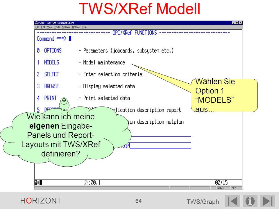 TWS/XRef Modell Wählen Sie Option 1 MODELS aus...