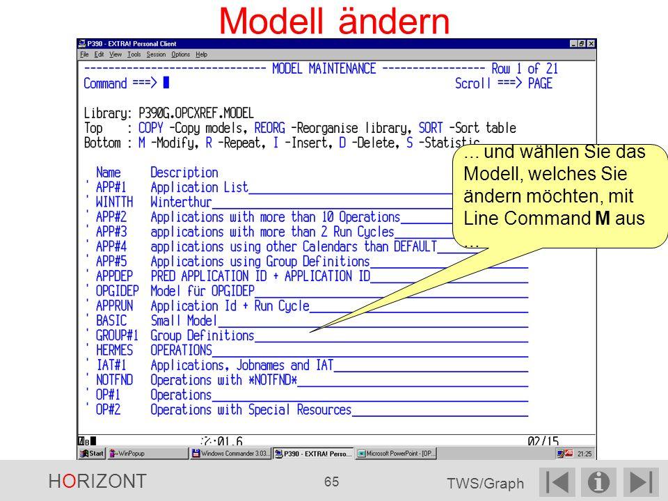 Modell ändern...und wählen Sie das Modell, welches Sie ändern möchten, mit Line Command M aus...