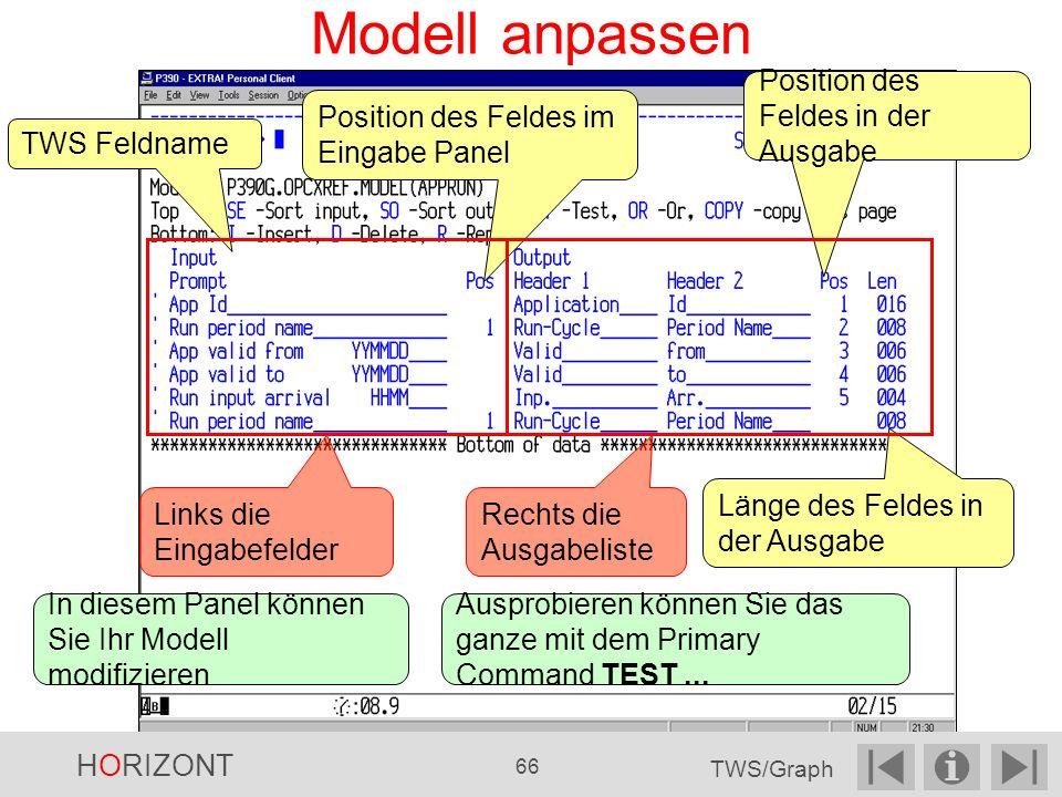 Modell anpassen Länge des Feldes in der Ausgabe Position des Feldes im Eingabe Panel Position des Feldes in der Ausgabe TWS Feldname Ausprobieren können Sie das ganze mit dem Primary Command TEST...