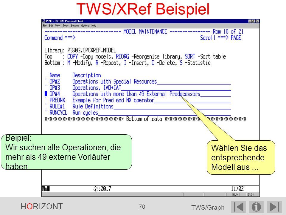 TWS/XRef Beispiel Wählen Sie das entsprechende Modell aus...