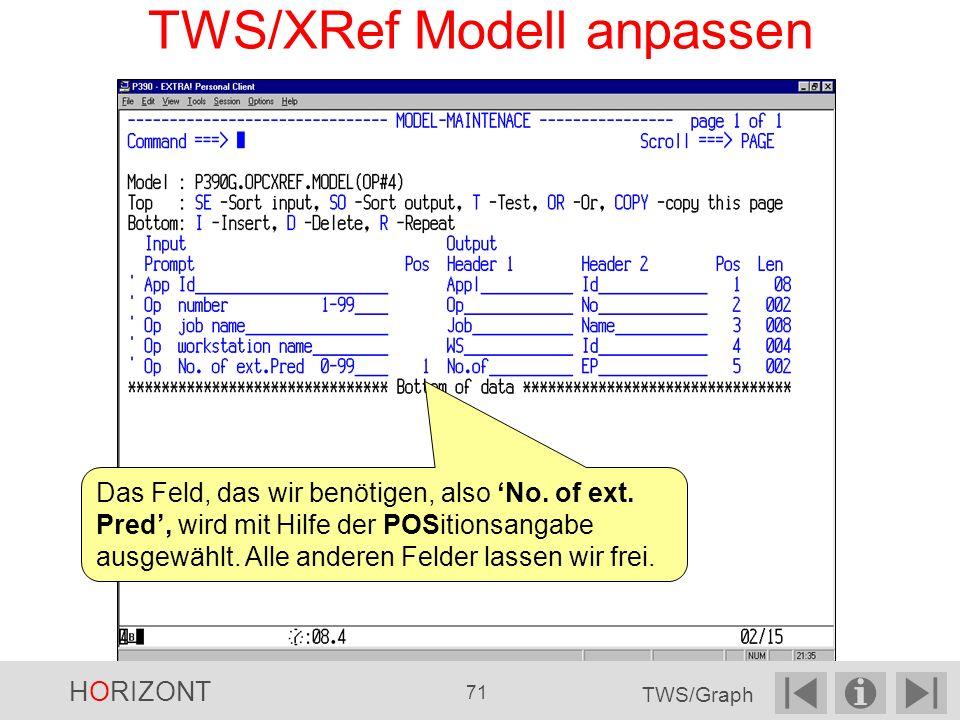 TWS/XRef Modell anpassen Das Feld, das wir benötigen, also No.
