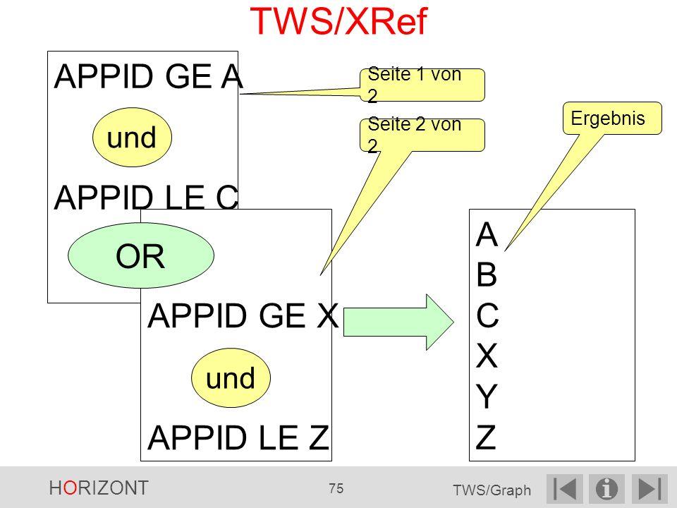 TWS/XRef Seite 1 von 2 APPID GE A APPID LE C APPID GE X APPID LE Z OR Seite 2 von 2 ABCXYZABCXYZ Ergebnis und HORIZONT 75 TWS/Graph