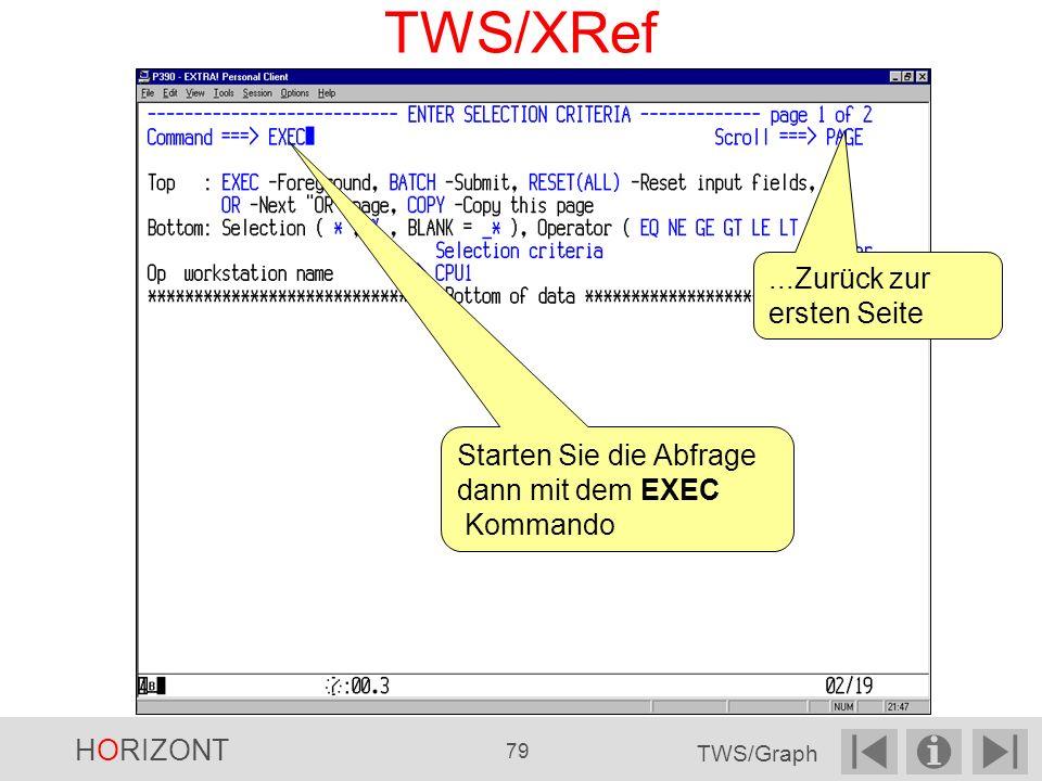 TWS/XRef...Zurück zur ersten Seite Starten Sie die Abfrage dann mit dem EXEC Kommando HORIZONT 79 TWS/Graph