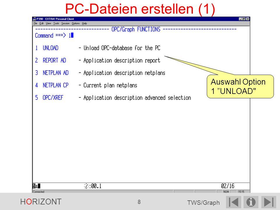 Auswahl Option 1 UNLOAD PC-Dateien erstellen (1) HORIZONT 8 TWS/Graph