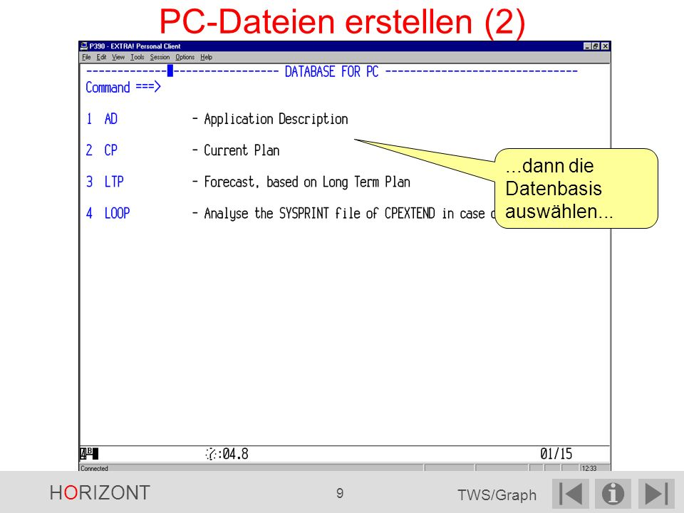 Cluster Wählen Sie im Dialog das gewünschte Feld aus... HORIZONT 120 TWS/Graph