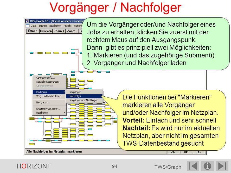 Vorgänger / Nachfolger Die Funktionen bei Markieren markieren alle Vorgänger und/oder Nachfolger im Netzplan.