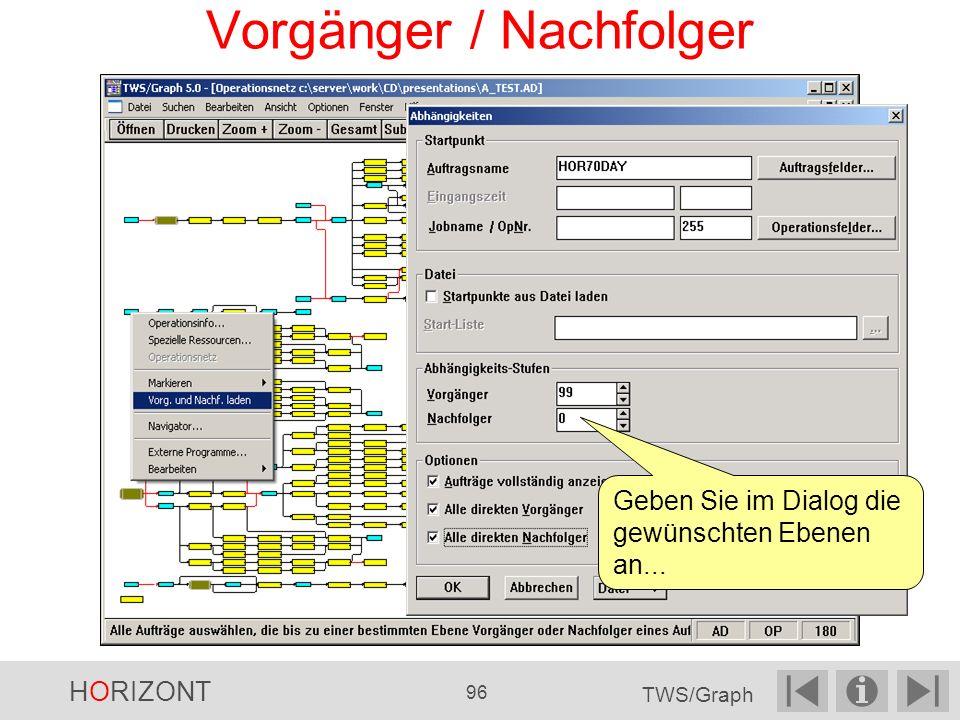 Vorgänger / Nachfolger Geben Sie im Dialog die gewünschten Ebenen an... HORIZONT 96 TWS/Graph