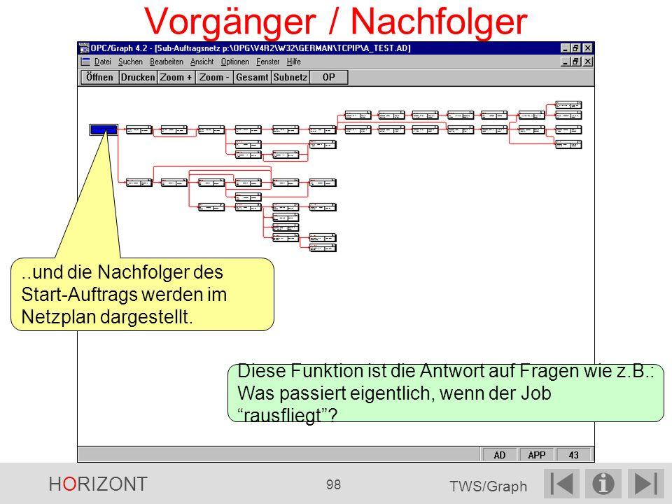 Vorgänger / Nachfolger..und die Nachfolger des Start-Auftrags werden im Netzplan dargestellt.
