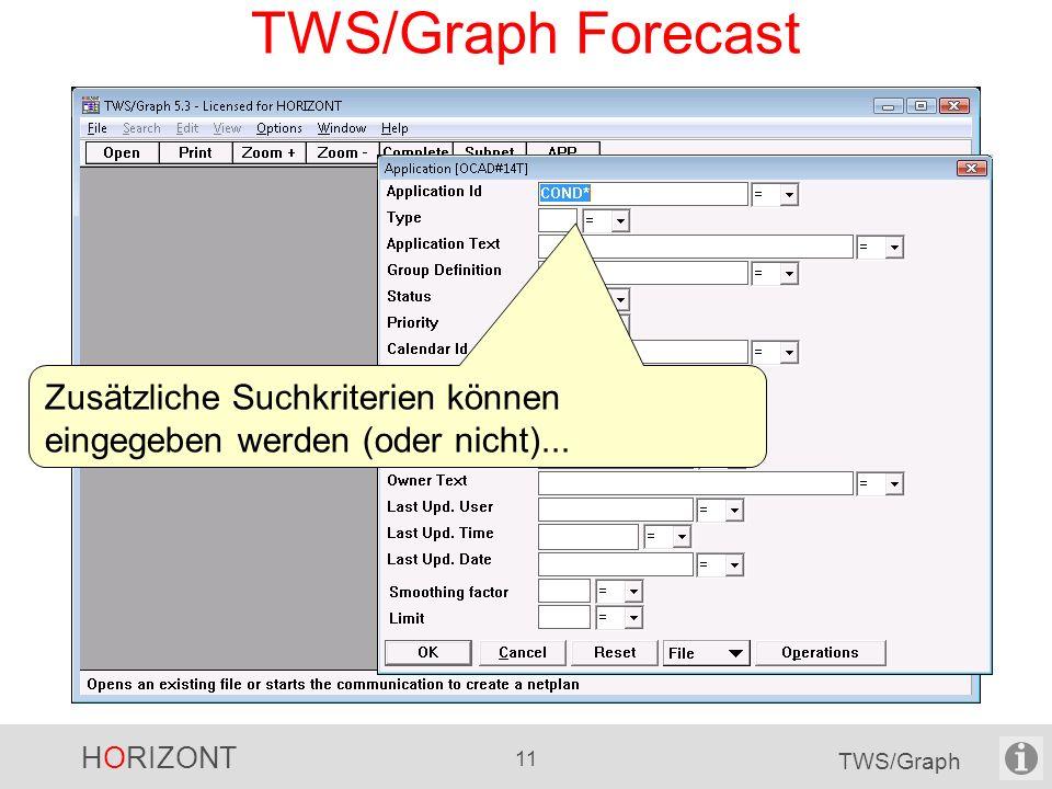 HORIZONT 11 TWS/Graph TWS/Graph Forecast Zusätzliche Suchkriterien können eingegeben werden (oder nicht)...