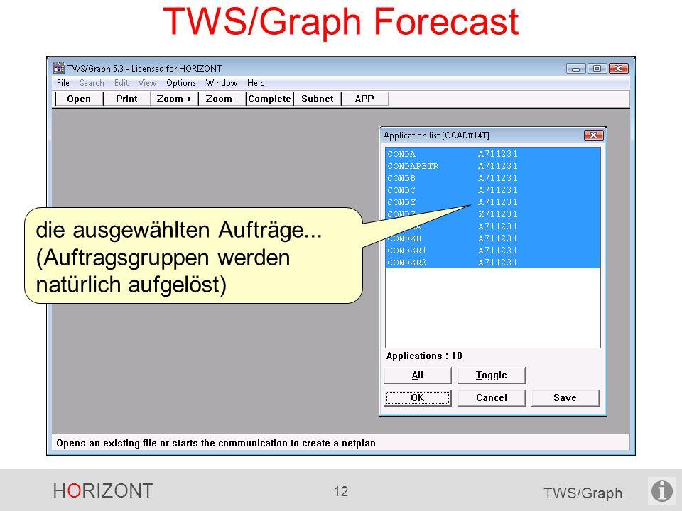 HORIZONT 12 TWS/Graph TWS/Graph Forecast die ausgewählten Aufträge... (Auftragsgruppen werden natürlich aufgelöst)