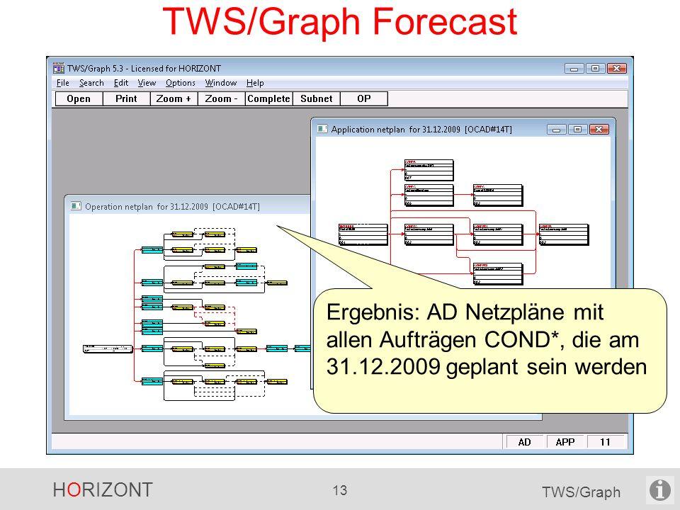 HORIZONT 13 TWS/Graph TWS/Graph Forecast Ergebnis: AD Netzpläne mit allen Aufträgen COND*, die am 31.12.2009 geplant sein werden