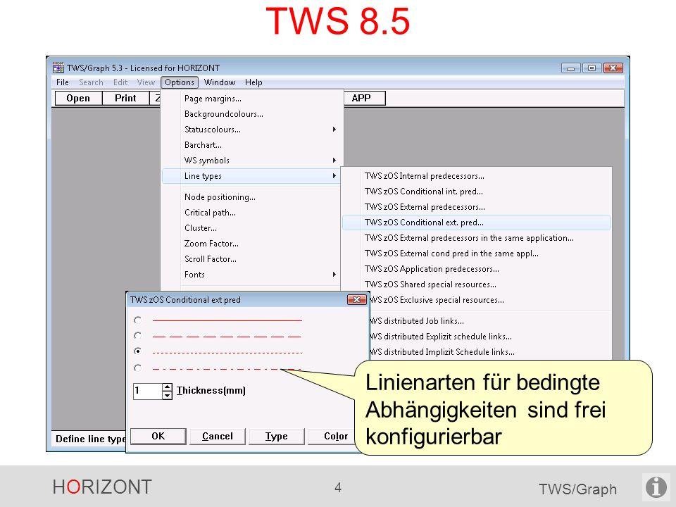 HORIZONT 4 TWS/Graph TWS 8.5 Neu in TWS 8.5: Bedingte Abhängigkeiten interne externe Linienarten für bedingte Abhängigkeiten sind frei konfigurierbar