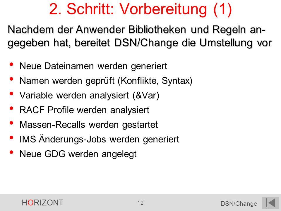 HORIZONT 12 DSN/Change 2. Schritt: Vorbereitung (1) Neue Dateinamen werden generiert Namen werden geprüft (Konflikte, Syntax) Variable werden analysie