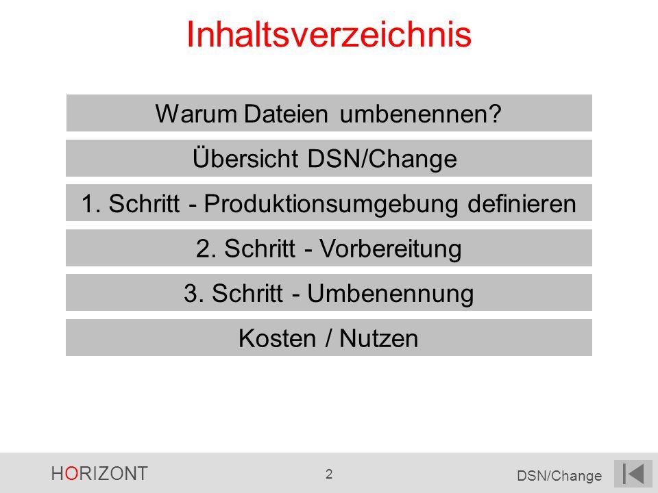 HORIZONT 2 DSN/Change Inhaltsverzeichnis Übersicht DSN/Change 1. Schritt - Produktionsumgebung definieren Warum Dateien umbenennen? 3. Schritt - Umben