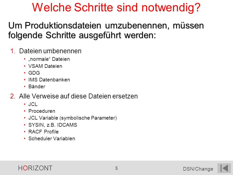 HORIZONT 5 DSN/Change Welche Schritte sind notwendig? 1.Dateien umbenennen normale Dateien VSAM Dateien GDG IMS Datenbanken Bänder 2.Alle Verweise auf