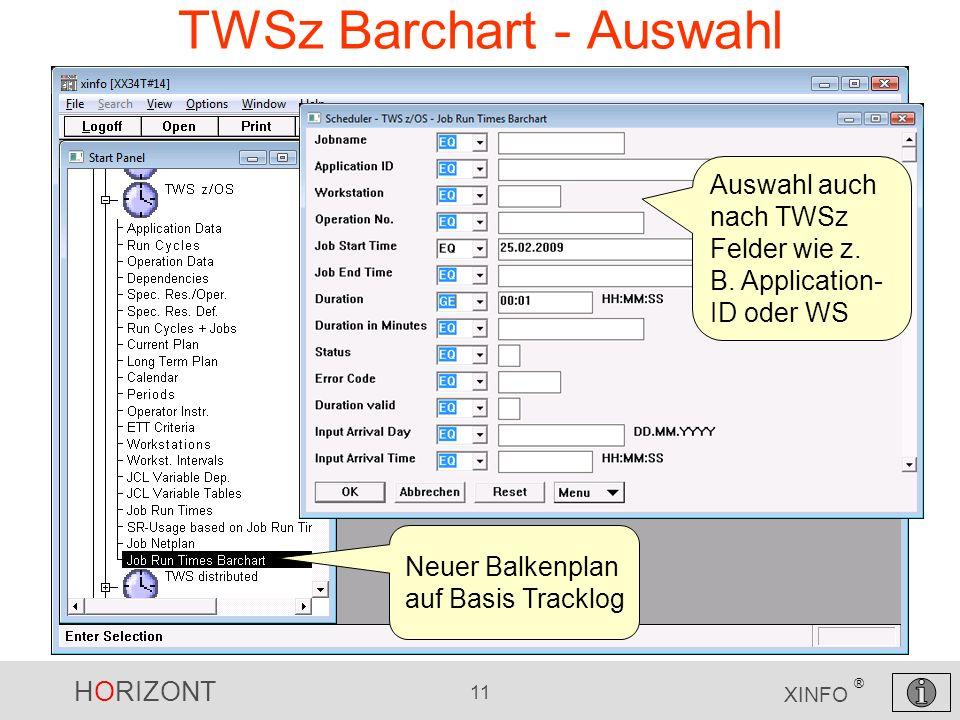 HORIZONT 11 XINFO ® TWSz Barchart - Auswahl Neuer Balkenplan auf Basis Tracklog Auswahl auch nach TWSz Felder wie z. B. Application- ID oder WS