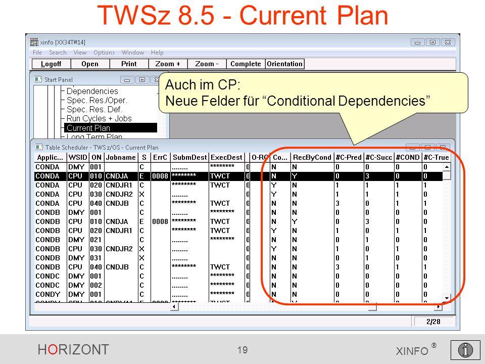 HORIZONT 19 XINFO ® TWSz 8.5 - Current Plan Auch im CP: Neue Felder für Conditional Dependencies