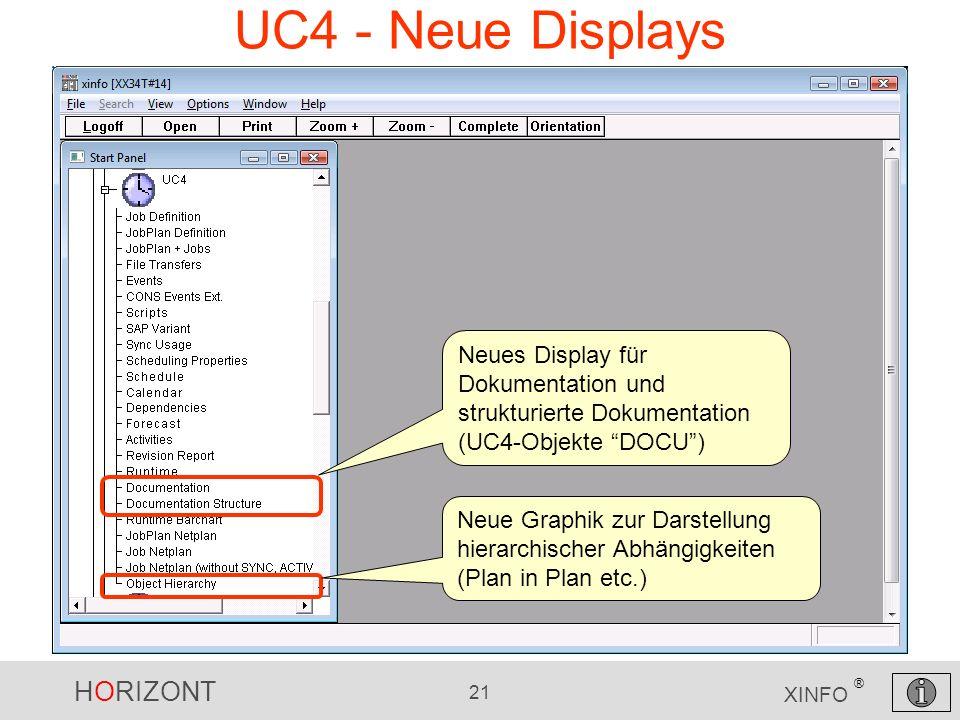 HORIZONT 21 XINFO ® UC4 - Neue Displays Neues Display für Dokumentation und strukturierte Dokumentation (UC4-Objekte DOCU) Neue Graphik zur Darstellun