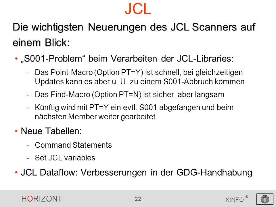 HORIZONT 22 XINFO ® JCL S001-Problem beim Verarbeiten der JCL-Libraries: -Das Point-Macro (Option PT=Y) ist schnell, bei gleichzeitigen Updates kann e