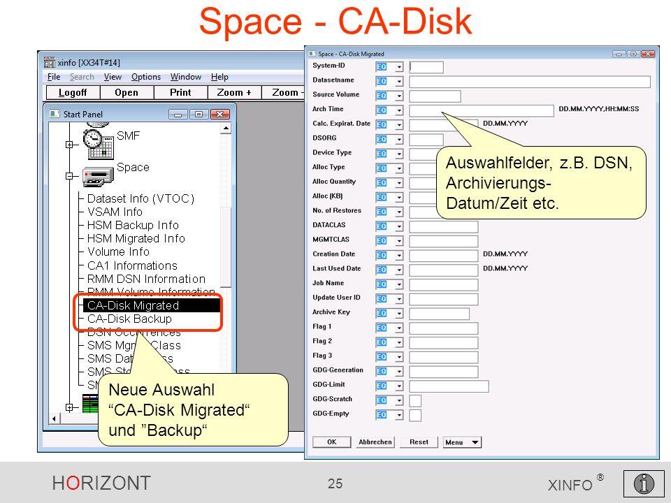 HORIZONT 25 XINFO ® Space - CA-Disk Auswahlfelder, z.B. DSN, Archivierungs- Datum/Zeit etc. Neue Auswahl CA-Disk Migrated und Backup