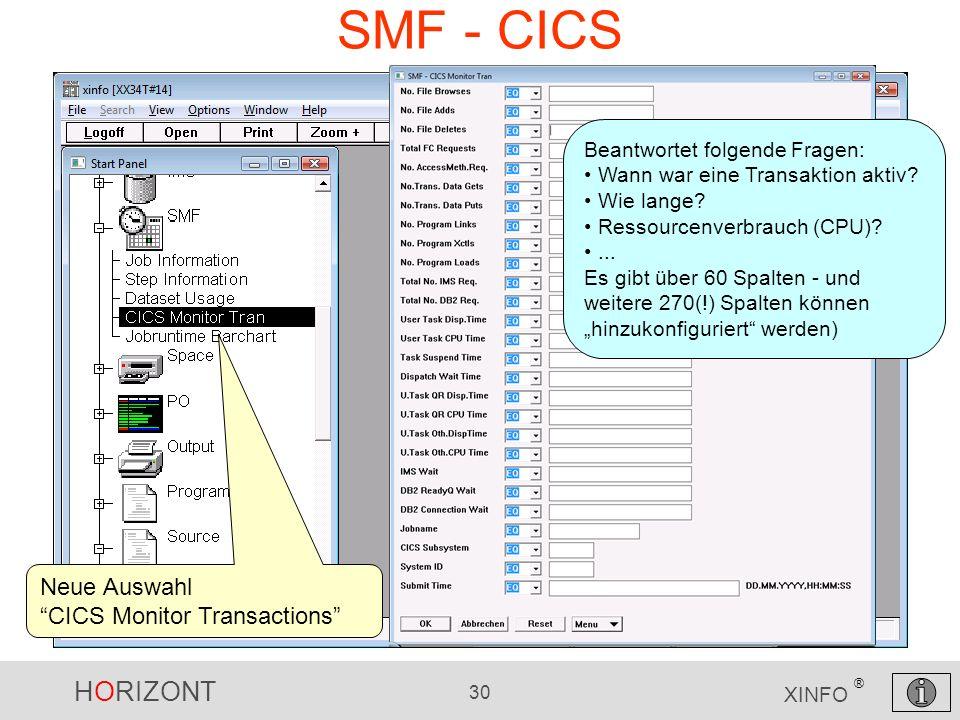 HORIZONT 30 XINFO ® SMF - CICS Beantwortet folgende Fragen: Wann war eine Transaktion aktiv? Wie lange? Ressourcenverbrauch (CPU)?... Es gibt über 60