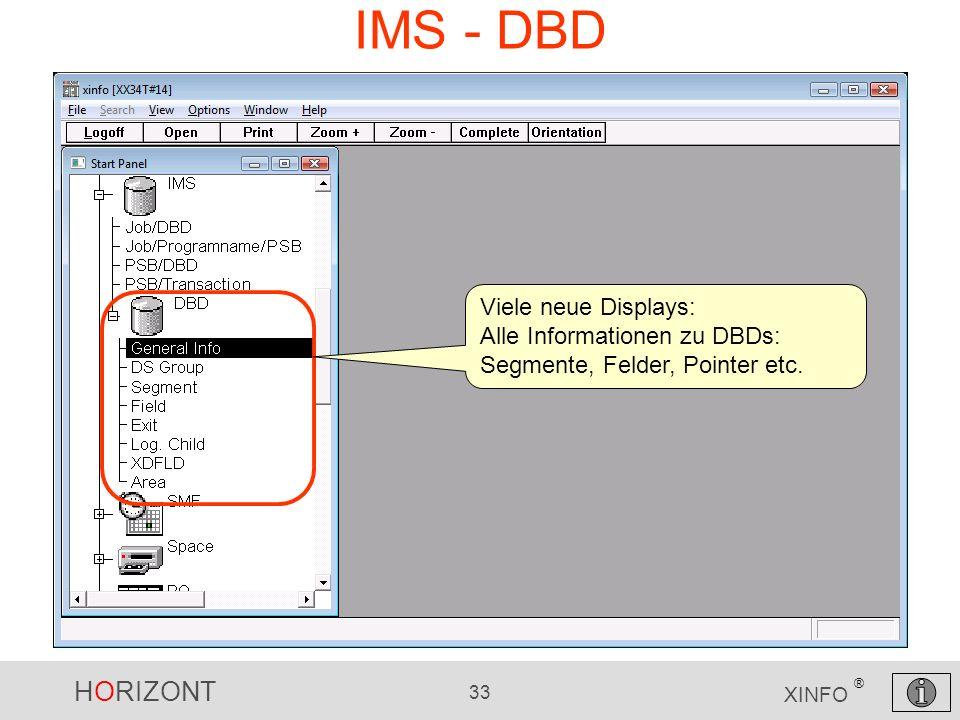 HORIZONT 33 XINFO ® IMS - DBD Viele neue Displays: Alle Informationen zu DBDs: Segmente, Felder, Pointer etc.