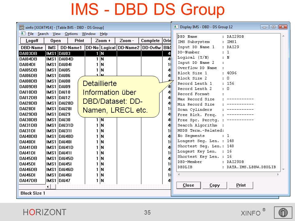 HORIZONT 35 XINFO ® IMS - DBD DS Group Detaillierte Information über DBD/Dataset: DD- Namen, LRECL etc.