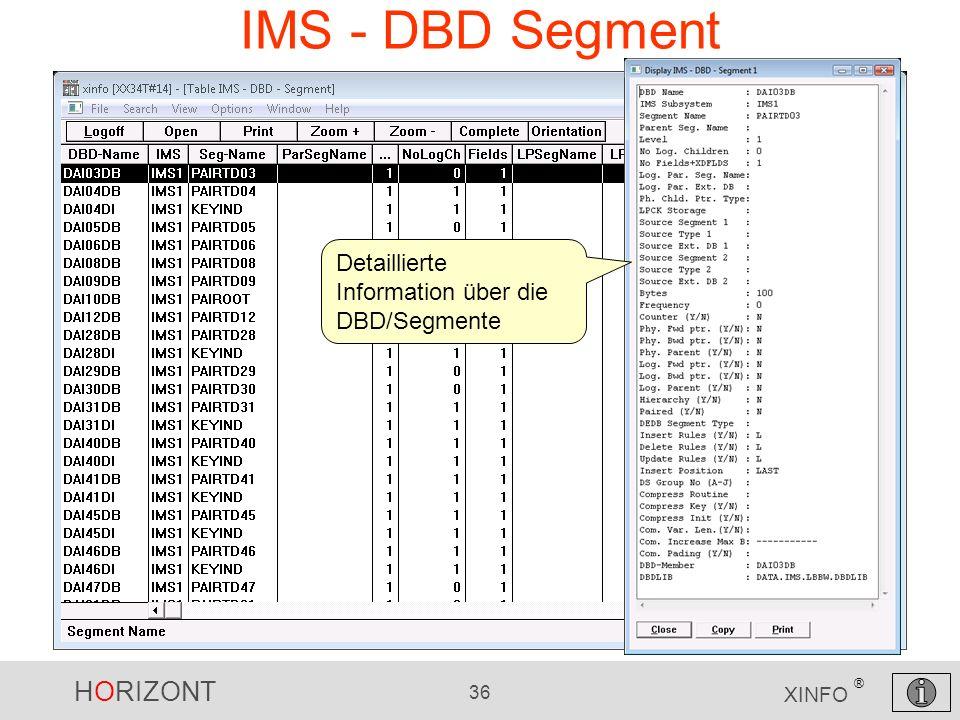 HORIZONT 36 XINFO ® IMS - DBD Segment Detaillierte Information über die DBD/Segmente